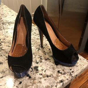 Aldo Tarolli Black and electric blue Platform Heel